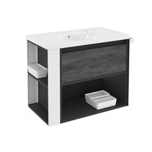 Mueble con lavabo porcelana 80cm Antracita-Frontal pizarra nature/Blanco B-Smart BATH+