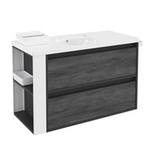Mueble con lavabo porcelana 100cm Antracita-Frontal pizarra nature/Blanco 2 cajones B-Smart BATH+