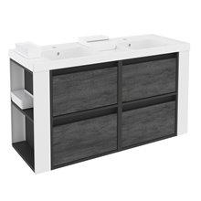 Mueble con lavabos resina 120cm Antracita-Frontal pizarra nature/Blanco 4 cajones B-Smart BATH+