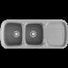 Fregadero de 2 cubas con escurridor serie PLATINO color METALIZADO POALGI