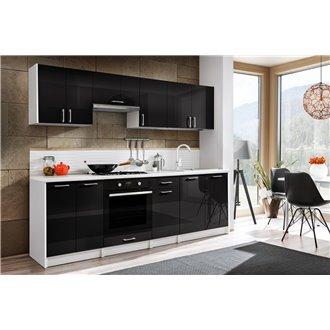 Cocina 240cm negro brillo Eliza Tarraco
