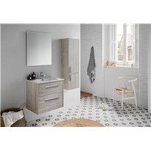 Pack mueble con 2 cajones, lavabo encastrado y espejo CUT LINE Sanchis
