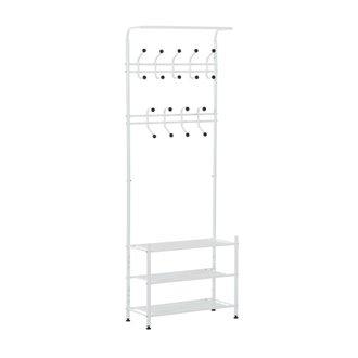 Mueble de recibidor metálico con perchero blanco HomCom