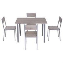 Conjunto mesa de cocina + 4 sillas color ceniza...