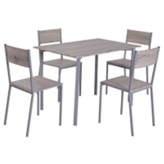 Conjunto mesa de cocina + 4 sillas color ceniza HomCom