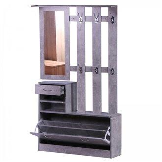 Mueble de recibidor gris ceniza con espejo HomCom