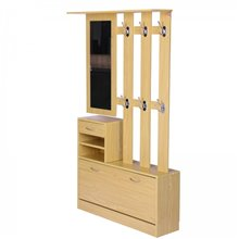 Mueble de recibidor color madera con espejo HomCom