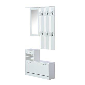 Mueble de recibidor blanco con espejo HomCom
