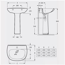 Lavabo para pedestal o semipedestal Basic Roca