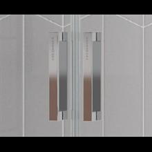 Mampara frontal 2 correderas y 2 fijos plata alto brillo transparente Kassandra