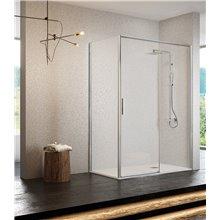 Mampara angular 1 puerta corredera plata alto brillo transparente Masela Kassandra