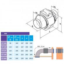 Extractor tubular CONDUCT TURBO Ø-150 estándar