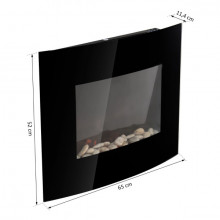 Chimenea eléctrica de pared 65x11,4x52cm vidirio negro Homcom