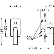 Grifo empotrado de 2 vías Acero SLIM TRES