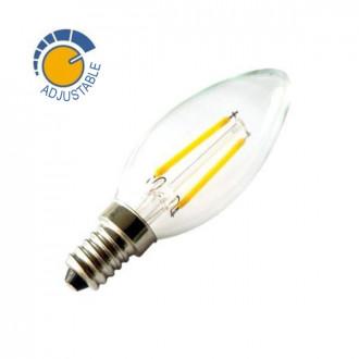 Bombilla con filamento LED vela de 2W