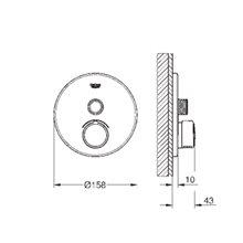Grifo mezclador empotrado redondo con 1 llave Smart Control GROHE