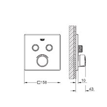 Grifo mezclador empotrado cuadrado con 2 llaves Smart Control GROHE