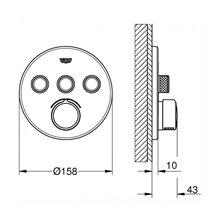 Grifo mezclador empotrado redondo con 3 llaves Smart Control GROHE