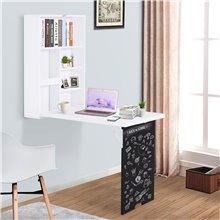 Mesa plegable con pizarra y estantería HomCom