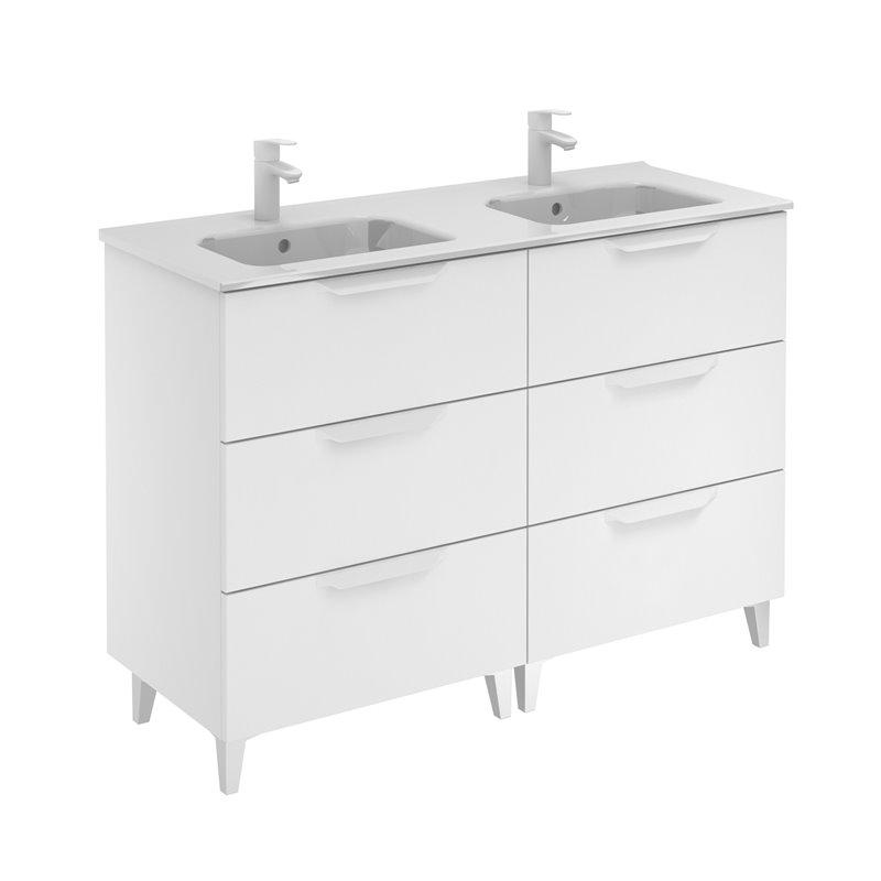 Mueble de baño 6 cajones con lavabo cerámico dos senos ...