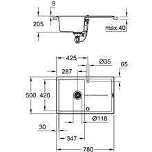 Fregadero composite con escurridor 78x50 negro granito K400 Grohe