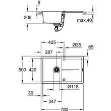 Fregadero composite con escurridor 78x50 gris granito K400 Grohe
