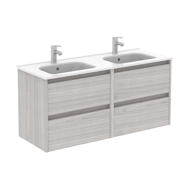 Mueble de baño 4 cajones con lavabo cerámico dos senos ...