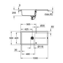 Fregadero composite con escurridor 100x50 gris granito K400 Grohe