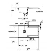 Fregadero con escurridor 86x50 gris granito K500 Grohe