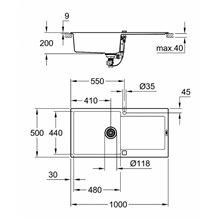 Fregadero con 1 cubeta 100x50 negro granito K500 Grohe