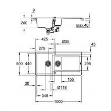 Fregadero con 2 cubetas 100x50 gris granito K500 Grohe