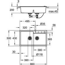 Fregadero con 2 cubetas 86x50 gris granito K500 Grohe