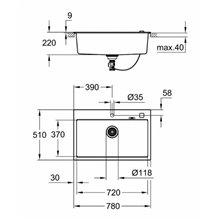 Fregadero rectangular 78x51 negro granito K700 Grohe