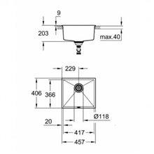 Fregadero 45.7x40.6 negro granito K700U Grohe