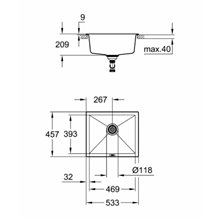 Fregadero 53.3x45.7 negro granito K700U Grohe