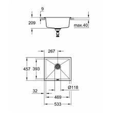 Fregadero 53.3x45.7 gris granito K700U Grohe