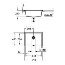 Fregadero 61x46 gris granito K700U Grohe