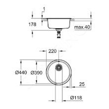 Fregadero acero inoxidable redondo K200 Grohe
