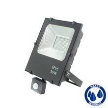 Proyector LED cuadrado 50W con sensor Negro