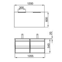 Mueble doble 120cm Blanco ATTILA SALGAR