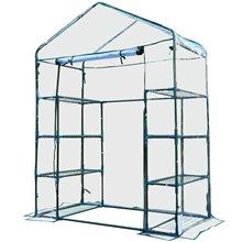 Invernadero transparente con estanterías Outsunny