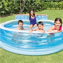 Piscina hinchable redonda con sillón 224x216 Intex