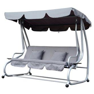 Balancín gris metal con parasol tres plazas Outsunny