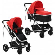 Cochecito/Silla de bebé 2-en-1 aluminio rojo y...
