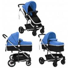 Cochecito/Silla de bebé 2 en 1 aluminio azul y...