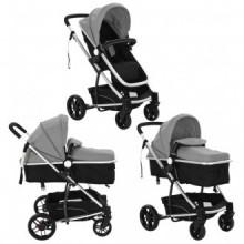 Cochecito/Silla de bebé 2 en 1 aluminio gris y...