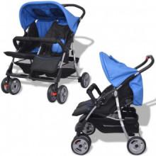 Carrito para gemelos de acero azul y negro Vida XL