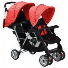 Carrito para dos bebés tandem rojo y negro de...