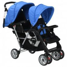 Carrito para dos bebés tandem azul y negro de...