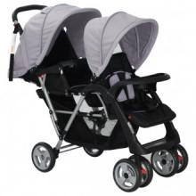Carrito para dos bebés tandem gemelos gris y...